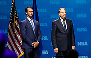 Donald Trump Jr., executive vice president of development and acquisitions with the Trump Organization Inc  with  Wayne LaPierre, chief executive officer of the NRA  s at the NRA-ILA Leadership Forum during the NRA Annual Meeting & Exhibits on <br /> May 4, 2018 in Dallas, Texas at the Kay Bailey Hutchison Convention Center.