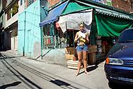 On the streets favelas in Rio de Janeiro. <br /> A girl in Complexo do Alemao, Rio de Janeiro, Brazil, 2006