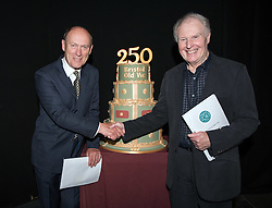 © Licensed to London News Pictures.29/05/2016. Bristol, UK.  Stars of the stage and screen, PATRICK MALAHIDE and TIM PIGOTT-SMITH with a birthday cake at the Bristol Old Vic in King Street as the theatre celebrates its 250th birthday on 30 May 2016 as the oldest continuously working theatre in the English speaking world. Following a recent £12.5 million redevelopment project, the Bristol Old Vic is now one of the most modern and comfortable theatres with state of the art rehearsal rooms, a dramatically extended forestage and precision-engineered sightlines giving audiences an even more intimate theatrical experience. Photo credit : Simon Chapman/LNP