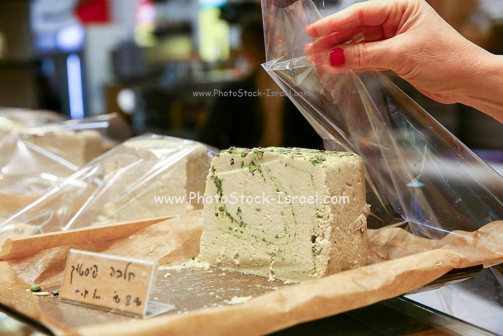 A block of Pistachio Halvah