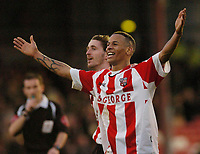 Photo: Leigh Quinnell.<br /> Brentford v Huddersfield Town. Coca Cola League 1. 21/01/2006. Brentfords Dudley Campbell celebrates his goal for Brentford.