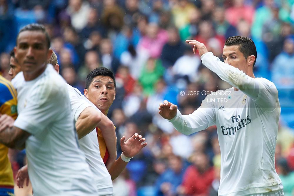 Cristiano Ronaldo (forward; Real Madrid) in action during La Liga match between Real Madrid and Valencia at Santiago Bernabeu on May 8, 2016 in Madrid