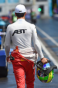 Lucas Di Grassi of Brazil and ABT Shuffler Audi Sport walks back to the garage during Round 9 of Formula E, Battersea Park, London, United Kingdom on 2 July 2016. Photo by Martin Cole.
