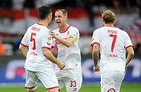 Fotball<br /> Tyskland<br /> 07.11.2015<br /> Foto: Witters/Digitalsport<br /> NORWAY ONLY<br /> <br /> 0:1 Jubel v.l. Torschuetze Dominic Maroh, Matthias Lehmann, Marcel Risse (Koeln) <br /> Fussball Bundesliga, Bayer 04 Leverkusen - 1. FC Köln