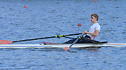 Reading. United Kingdom.  GBR LM1X, Jonathan CLEGG, in the opening strokes of the morning time trial. 2014 Senior GB Rowing Trails, Redgrave and Pinsent Rowing Lake. Caversham.<br /> <br /> 10:13:51  Saturday  19/04/2014<br /> <br />  [Mandatory Credit: Peter Spurrier/Intersport<br /> Images]