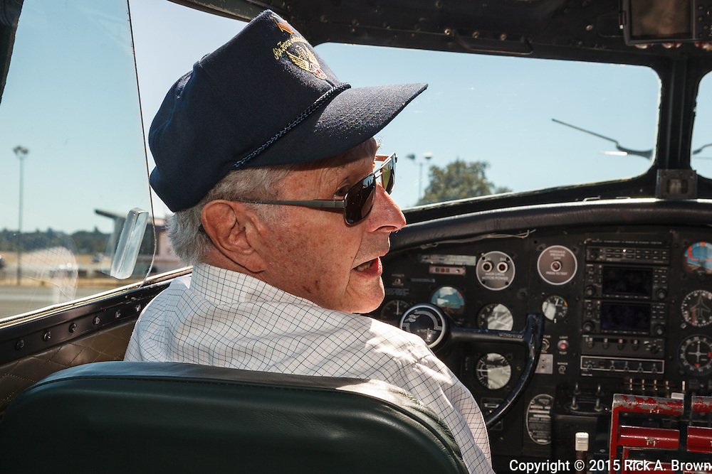 Jim Street, 15th Air Force B-17 pilot in the cockpit of Aluminum Overcast.
