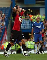 Photo: Tony Oudot.<br /> Chelsea v Blackburn Rovers. The FA Barclays Premiership. 15/09/2007.<br /> Morten Gamst Pedersen of Blackburn holds his head after a near miss