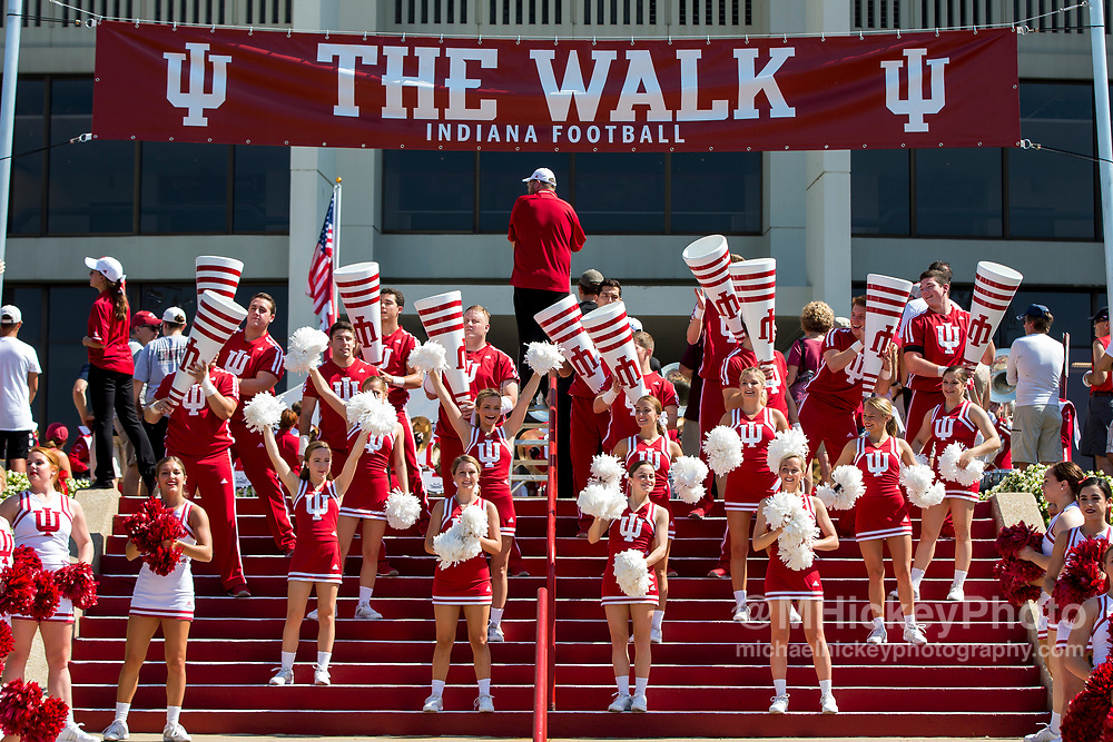 BLOOMINGTON, IN - SEPTEMBER 23: Indiana Hoosiers cheerleaders are seen before the game against the Georgia Southern Eagles at Memorial Stadium on September 23, 2017 in Bloomington, Indiana. (Photo by Michael Hickey/Getty Images)