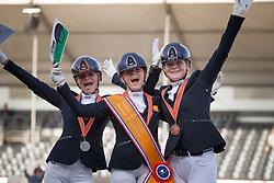 Podium Children, Buys Sanne, Van Nek Lara, Van der Pols Sanne<br /> Nederlands Kampioenschap Dressuur <br /> Ermelo 2018<br /> © Hippo Foto - Dirk Caremans<br /> 29/07/2018