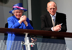 Britain's Queen Elizabeth II and the Duke of Edinburgh during the Vodafone Derby Day at Epsom Racecourse, Epsom Downs, Surrey.