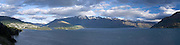 Panoramic view of Queenstown taken from the north; New Zealand's adventure capitol; Otago Region, New Zealand