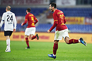 Henrikh Mkhitaryan of Roma celebrates after scoring 2-3 goal during the Italian championship Serie A football match between AS Roma and Bologna FC 1909, Friday, Feb. 7, 2020, at Stadio Olimpico in Rome, Italy. (Federico Proietti/Image of Sport)