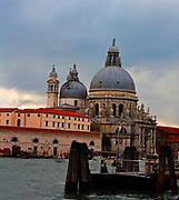 Basilica di Santa Maria della Salute (Basilica of Saint Mary of Health). Completed in 1687. A Roman Catholic church and minor basilica located in the Dorsoduro sestiere of the city of Venice. Venice. Italy 2013