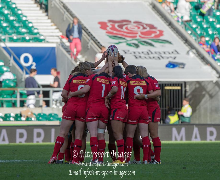 Twickenham. UK. Canada Hudle before Kick off, Canada vs Australia during the Women's Rugby 2015. Marriott London Sevens. RFU Twickenham Stadium. Surrey. 16.05.2015. [Mandatory Credit: Peter Spurrier/Intersport Images]