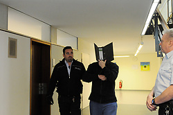 Germany, Freiburg - May 13, 2019.The sencond day of the trial against Bernhard Haase for the case of the missing German girl Maria H. / Bernhard Haase hides his face behind a folder, Freiburg court May 13, 2019.The case of the missing German girl Maria H. 13 Italian police has arrested Bernhard Haase 58. The 2 lived almost 5 years in Licata despite the man (Bernhard Haase) was wanted by the international police. They were lovers but they had declared themselves as father and daughter in the town of Licata / Sicily (Credit Image: © Antonio Pisacreta/Ropi via ZUMA Press)