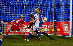 BIRKENHEAD, ENGLAND - Sunday, March 28, 2021: Blackburn Rovers' Elise Hughes scores the an equalising goal during the FA Women's Championship game between Liverpool FC Women and Blackburn Rovers Ladies FC at Prenton Park. The game ended in a 1-1 draw. (Pic by David Rawcliffe/Propaganda)