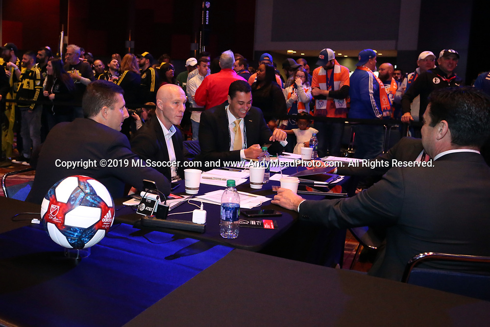 CHICAGO, IL - JANUARY 11: Los Angeles FC draft table with head coach Bob Bradley and staff. The MLS SuperDraft 2019 presented by adidas was held on January 11, 2019 at McCormick Place in Chicago, IL.