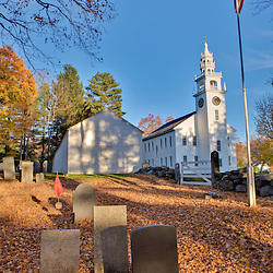 The meetinghouse and Old Burying Ground in Jaffrey Center, New Hampshire.