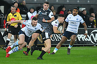 Rugby Union - 2019 / 2020 Guinness Pro14 - Ospreys vs. Cardiff Blues<br /> <br /> Jeff Hassler of Ospreys\ tackled by Owen  Lane Cardiff Blues, at The Liberty Stadium.<br /> <br /> COLORSPORT/WINSTON BYNORTH