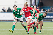 Dyddgu Hywel of Wales runs through the Irish defence.<br /> RBS Womens Six Nations 2017 international rugby, Wales women v Ireland women at the BT Sport Cardiff Arms Park in Cardiff , South Wales on Saturday 11th March 2017.  pic by Simon Latham, Andrew Orchard sports photography