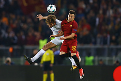 October 31, 2017 - Rome, Italy - Marcos Alonso of Chelsea and Stephan El Shaarawy of Roma  during the UEFA Champions League football match AS Roma vs Chelsea on October 31, 2017 at the Olympic Stadium in Rome. (Credit Image: © Matteo Ciambelli/NurPhoto via ZUMA Press)