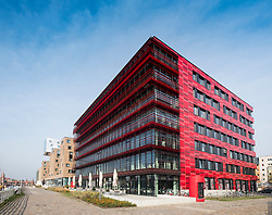 Headquarters of Coca Cola company on Osthafen , Mediaspree,East Harbour along River Spree in Berlin , Germany