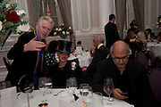 PHILIP TREACY,; URSULA FLANERY; ALAN YENTOB , Liberatum 10th Anniversary dinner in honour of Sir Peter Blake. Hosted by Pable Ganguli and Ella Krasner. The Corinthia Hotel, Whitehall. London. 23 November 2011.