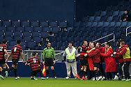 13 December 2015: Stanford's Jordan Morris (13) celebrates his second goal with teammates on the bench. The Clemson University Tigers played the Stanford University Cardinal at Sporting Park in Kansas City, Kansas in the 2015 NCAA Division I Men's College Cup championship match. Stanford won the game 4-0.