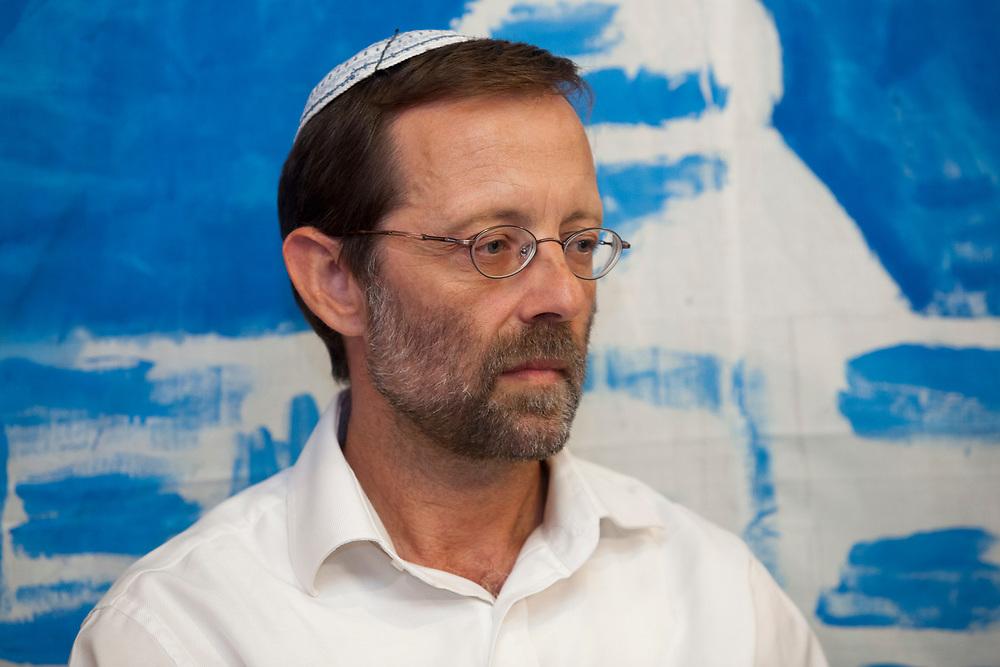 Israeli politician and leader of Manhigut Yehudit: The Jewish Leadership Movement, Moshe Feiglin hosts Likud party politicians in Jerusalem, Israel, on June 25, 2013.