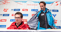 14.01.2016, Kulm, Bad Mitterndorf, AUT, FIS Skiflug WM, Kulm, Pressekonferenz, im Bild v.l.: Der leitende Notarzt, Dr. Ulf Karner (links) und Cheftrainer Heinz Kuttin (AUT) bei einer Pressekonferenz über den Gesundheitszustand von Lukas Müller der beim Einfliegen schwer gestürzt ist // f.l.: The emergency doctor, Dr. Ulf Karner (left) and Headcoach Heinz Kuttin of Austria during a Pressconference about the Crash of Austrian Jumper Lukas Mueller of FIS Ski Flying World Championships at the Kulm, Bad Mitterndorf, Austria on 2016/01/14, EXPA Pictures © 2016, PhotoCredit: EXPA/ JFK