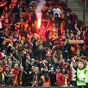 Galatasaray's Supporters fans during their Turkish superleague soccer derby match Galatasaray between Besiktas at the TT Arena at Seyrantepe in Istanbul Turkey on Sunday, 26 February 2012. Photo by TURKPIX