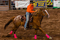 Barrel racing competition, Snowmass Rodeo, Snowmass Village (Aspen), Colorado USA.