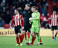 John Fleck, Sander Berge and Dean Henderson of Sheffield Utd celebrate the win during the Premier League match at Bramall Lane, Sheffield. Picture date: 9th February 2020. Picture credit should read: Simon Bellis/Sportimage