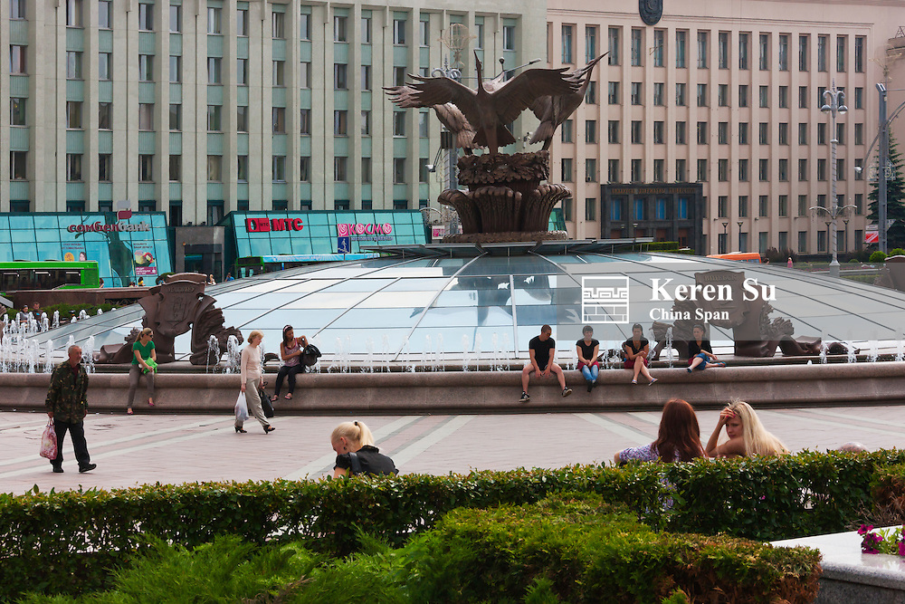 Independece Square with stork statue and fountain, Minsk, Belarus