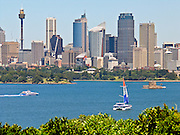 Skyscrapers rise above Sydney Harbour, New South Wales (NSW), Australia.
