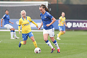 Everton midfielder Megan Finnigan (20) passes the ball during the FA Women's Super League match between Everton Women and Brighton and Hove Albion Women at the Select Security Stadium, Halton, United Kingdom on 18 October 2020.