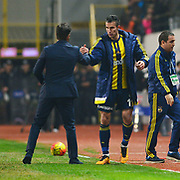 Fenerbahce's Robin van Persie (R) during their Turkish Super League soccer match Akhisar Belediye Genclik Spor between Fenerbahce at the 19 Mayis Stadium in Manisa Turkey on Sunday, 06 March 2016. Photo by TURKPIX