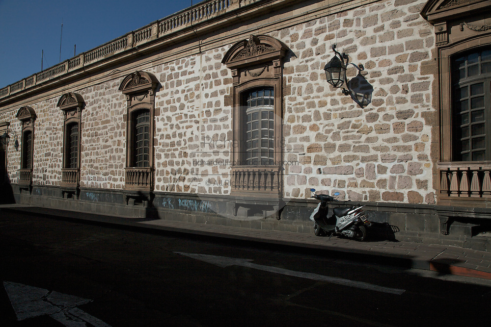 Wall on an ancient spanish style building in Morelia, Michoacan state Mexico. The city is a UNESCO World Heritage Site and hosts on of the best preserved collection of Spanish Colonial architecture in the world.