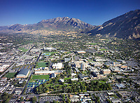 Aerial shot of Provo, UT and Brigham Young University campus