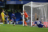 Victor Moses of Chelsea scores his sides 2nd goal of the match to make it 2-0.EFL Cup 2nd round match, Chelsea v Bristol Rovers at Stamford Bridge in London on Tuesday 23rd August 2016.<br /> pic by John Patrick Fletcher, Andrew Orchard sports photography.