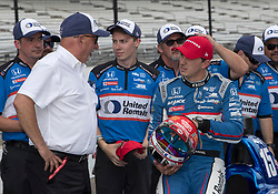 May 19, 2018 - Indianapolis, IN, U.S. - INDIANAPOLIS, IN - MAY 19: Team owner Bobby Rahal having a conversation with his son Graham Rahal, driver of the #15 United Rentals Honda, following the completion of his qualifying run for the Indianapolis 500 on May 19, 2018 at the Indianapolis Motor Speedway in Indianapolis, IN. (Photo by Khris Hale/Icon Sportswire) (Credit Image: © Khris Hale/Icon SMI via ZUMA Press)