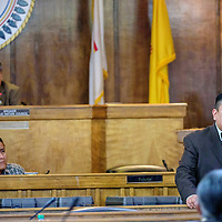 012615  Adron Gardner/Independent<br /> <br /> Council delegate Alton Shepherd, right, concedes the position of speaker to Lorenzo C. Bates  after a 12 to 12 vote tie during the Navajo Nation Tribal Council winter session in Window Rock Monday.