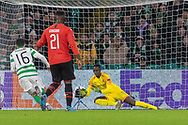 Romain Salin (16) saves from close range during the Europa League match between Celtic and Rennes at Celtic Park, Glasgow, Scotland on 28 November 2019.