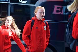 YSTRAD MYNACH, WALES - Wednesday, April 5, 2017: Wales' Shaunna Jenkins arrives ahead of the Women's International Friendly match against Northern Ireland at Ystrad Mynach. (Pic by Laura Malkin/Propaganda)