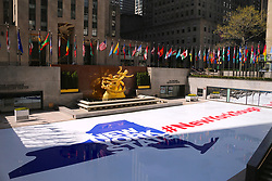 Rockefeller Center Plaza atmosphere during the Covid-19 pandemic in New York City, NY, USA on April 22, 2020. The Big Apple neared a painful milestone Wednesday as the death toll from the coronavirus outbreak that has ravaged the five boroughs approached 15,000. The pandemic has claimed the lives of 14,996 New Yorkers, with new 569 fatalities reported in the most recent 24-hour period, according to data from the city's Department of Health. Photo by Charles Guerin/ABACAPRESS.COM