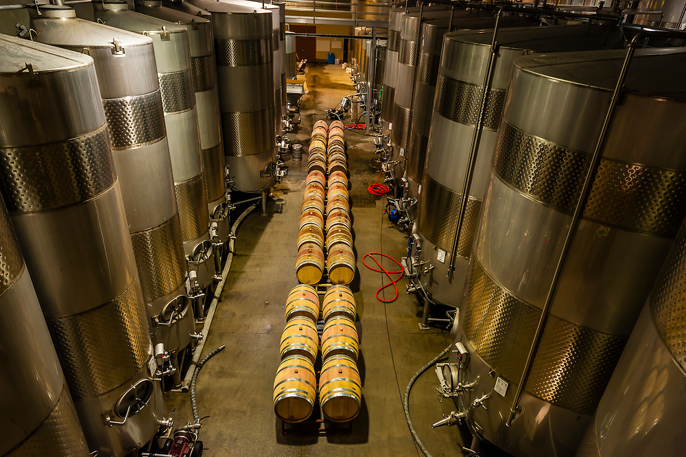 Stainless steel fermentation tanks, Herzog Wine Cellars (a kosher winery), Oxnard, California USA