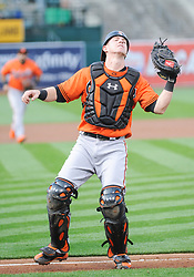 May 5, 2018 - Oakland, CA, U.S. - OAKLAND, CA - MAY 05: Baltimore Orioles catcher Chance Sisco (15) after making a catch during the regular season game between the Oakland Athletics and the Baltimore Orioles on May 5, 2018 at Oakland-Alameda County Coliseum in Oakland,CA (Photo by Samuel Stringer/Icon Sportswire) (Credit Image: © Samuel Stringer/Icon SMI via ZUMA Press)