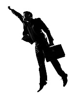 silhouette caucasian business man  expressing winning enenrgy winner happy success  full length on studio isolated white background