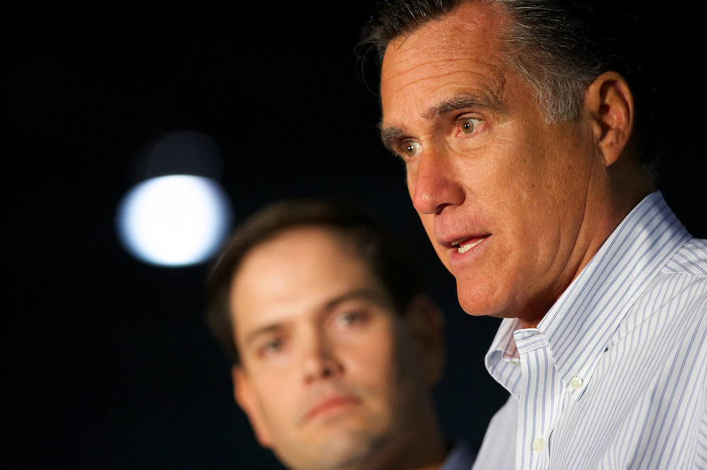 U.S. Republican presidential candidate, former Massachusetts Governor Mitt Romney, and Florida Senator Marco Rubio address the media before holding a rally at Mustang Expediting in Aston, Pennsylvania on April 23, 2012.
