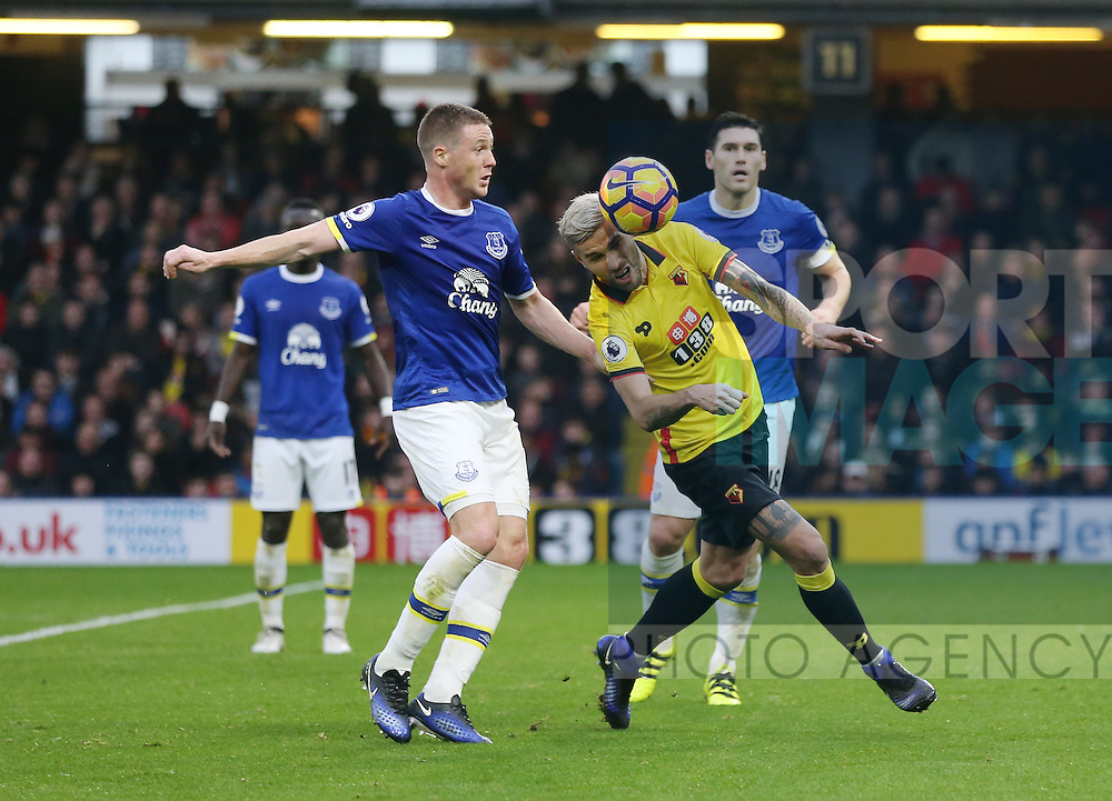 Watford's Valon Behrami tussles with Everton's James McCarthy during the Premier League match at Vicarage Road Stadium, London. Picture date December 10th, 2016 Pic David Klein/Sportimage